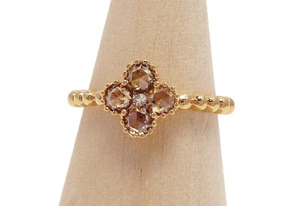 【新品】K18PG D0.45ct ローズカット ダイヤモンドリング ブラウン ダイアモンド指輪 _画像2