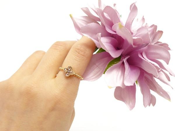 【新品】K18PG D0.45ct ローズカット ダイヤモンドリング ブラウン ダイアモンド指輪 _画像3