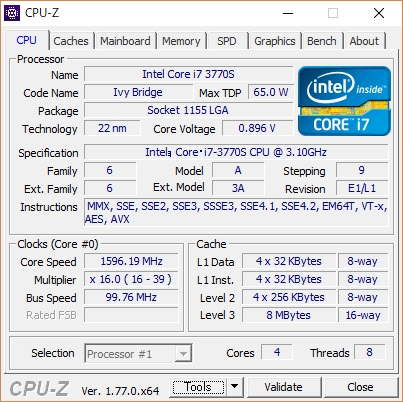 自作PC CPU Core i7 3770S メモリ16G ACアダプター駆動_画像7