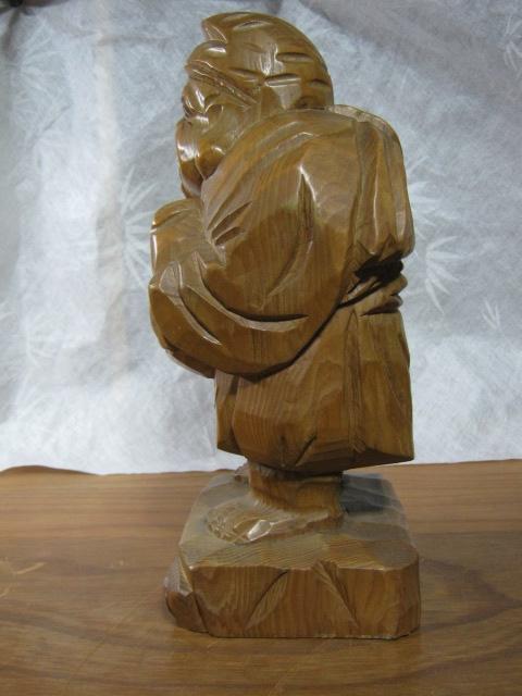 【大サイズ 木彫り 置物 七福神 布袋尊 高さ35cm】antique_画像2