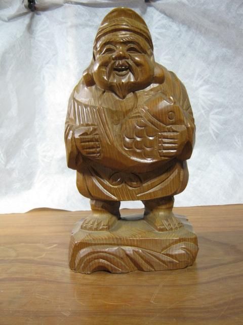 【大サイズ 木彫り 置物 七福神 布袋尊 高さ35cm】antique_画像1