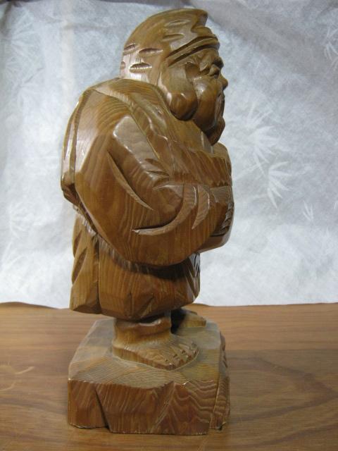 【大サイズ 木彫り 置物 七福神 布袋尊 高さ35cm】antique_画像4