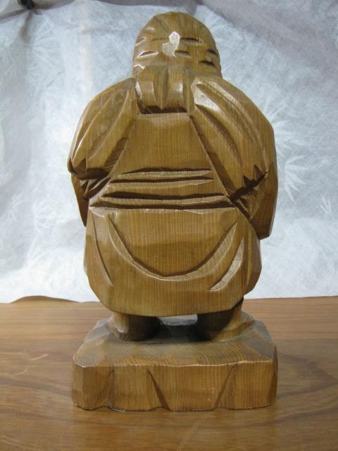 【大サイズ 木彫り 置物 七福神 布袋尊 高さ35cm】antique_画像3