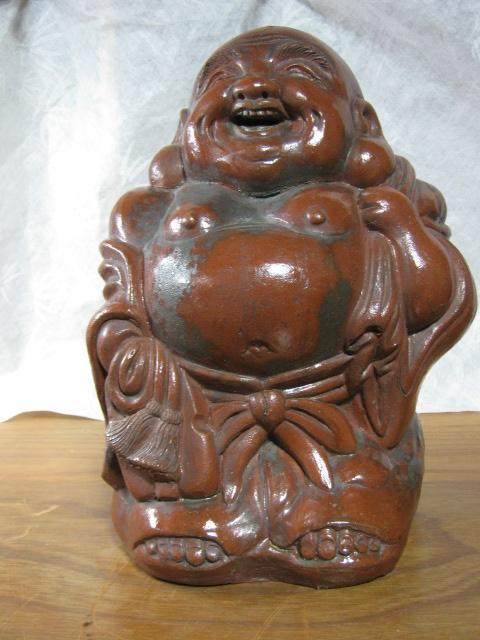 【大サイズ 高さ34cm 陶器製 置物 布袋尊 七福神】antique_画像1