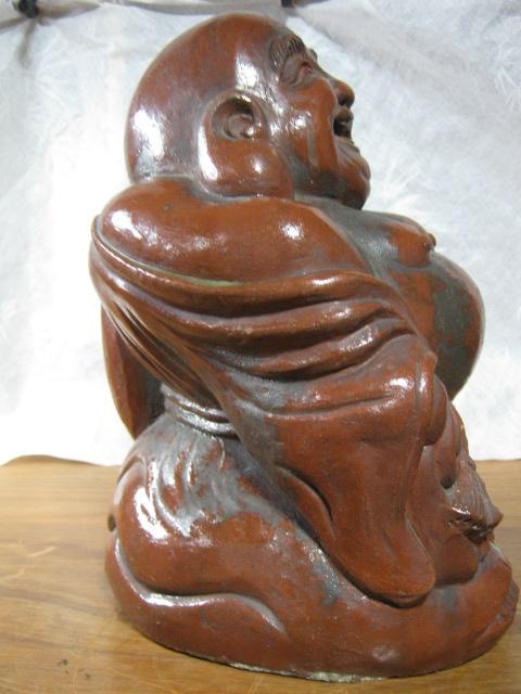 【大サイズ 高さ34cm 陶器製 置物 布袋尊 七福神】antique_画像4