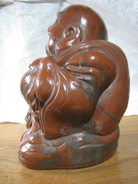 【大サイズ 高さ34cm 陶器製 置物 布袋尊 七福神】antique_画像2