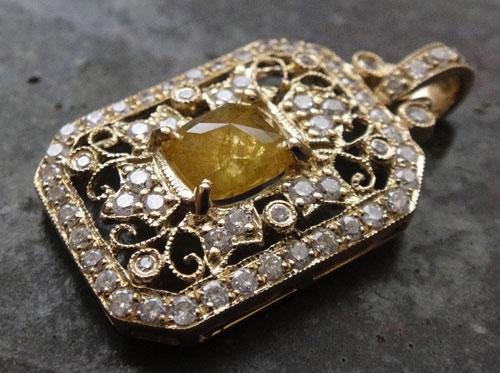 【最終処分】253-1817F43 K18 超特価 金 GOLD ゴールド 天然 本物 イエローダイヤモンド ダイヤ アンティーク チャーム ペンダントトップ_画像6