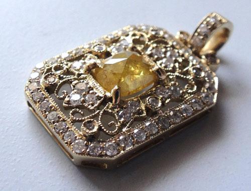 【最終処分】253-1817F43 K18 超特価 金 GOLD ゴールド 天然 本物 イエローダイヤモンド ダイヤ アンティーク チャーム ペンダントトップ_画像2