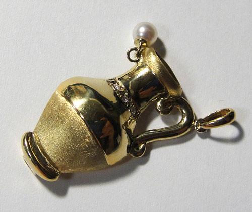 253-1817F30 K18 金 GOLD ゴールド 天然 本物 パール 真珠 ダイヤ 0.02ct ホイッスル 笛 チャーム ペンダントトップ 壺 壷 アンティーク_画像7