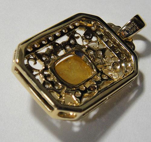 【最終処分】253-1817F43 K18 超特価 金 GOLD ゴールド 天然 本物 イエローダイヤモンド ダイヤ アンティーク チャーム ペンダントトップ_画像4