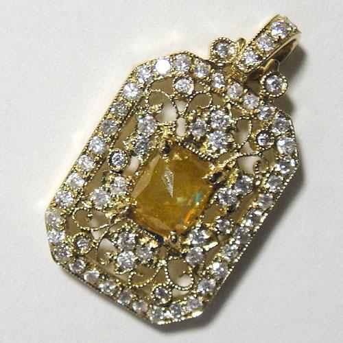 【最終処分】253-1817F43 K18 超特価 金 GOLD ゴールド 天然 本物 イエローダイヤモンド ダイヤ アンティーク チャーム ペンダントトップ