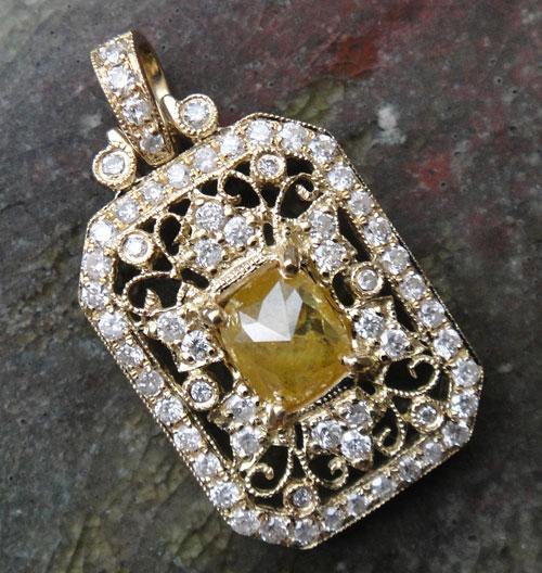 【最終処分】253-1817F43 K18 超特価 金 GOLD ゴールド 天然 本物 イエローダイヤモンド ダイヤ アンティーク チャーム ペンダントトップ_画像5