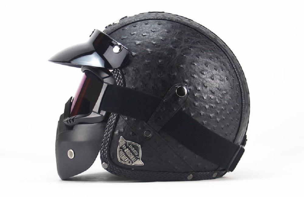 送料無料 高級感 PU レザー バイク ジェット ヘルメット マスク付 オーストリッチ 柄 ブラック L ハーレー 等