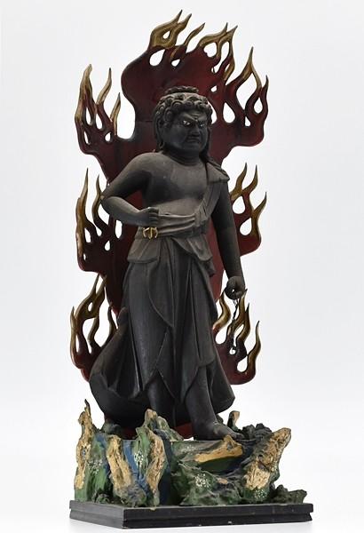仏教美術[玉眼不動明王立像]仏像/廃寺/寺院/仏閣/木工/彫刻◎LL2910