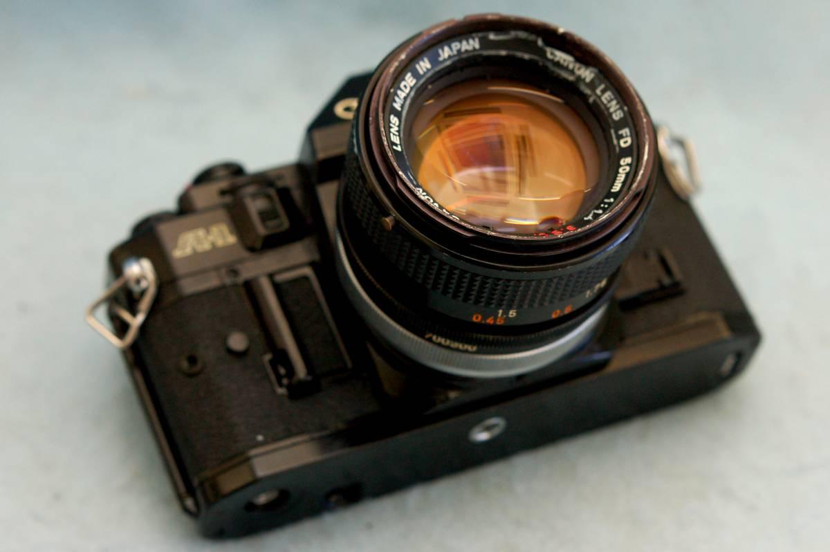 Canon キャノン 昔の一眼レフカメラ A-1ボディ + 純正50mmレンズ 1:1.4 付 ジャンク_画像2
