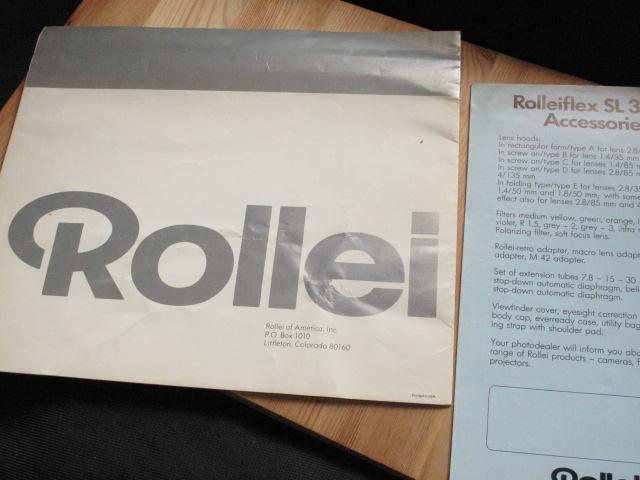 コンタックス、ライカL、コニカヘキサ―好きに★Rollei 「ローライSL35E : カタログとミニパンフ」~良品_画像2