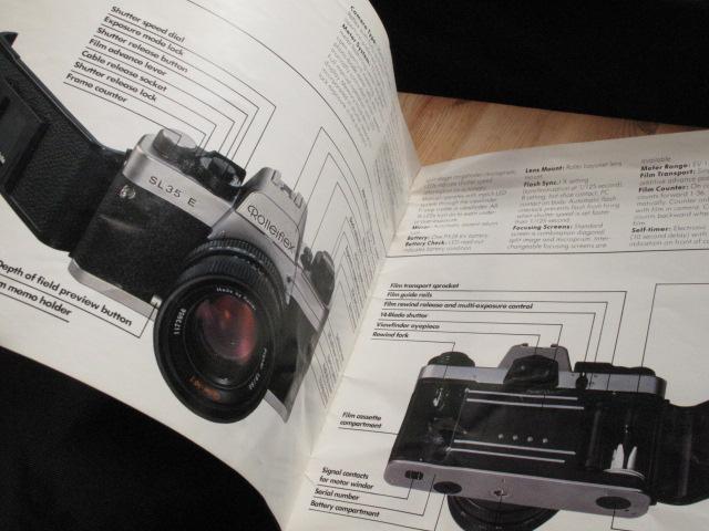 コンタックス、ライカL、コニカヘキサ―好きに★Rollei 「ローライSL35E : カタログとミニパンフ」~良品_画像4