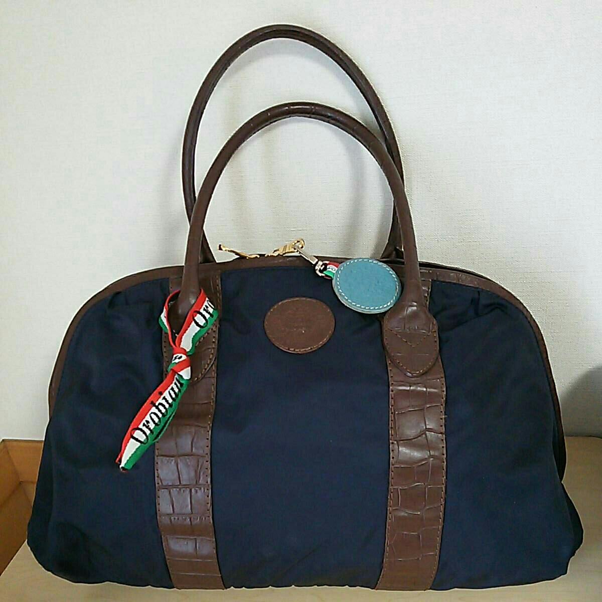 Orobianco オロビアンコ ネイビー ナイロン×レザー 紺 ビジネス ボストンバッグ 革 バッグ 美品 イタリア製 LIMONTA