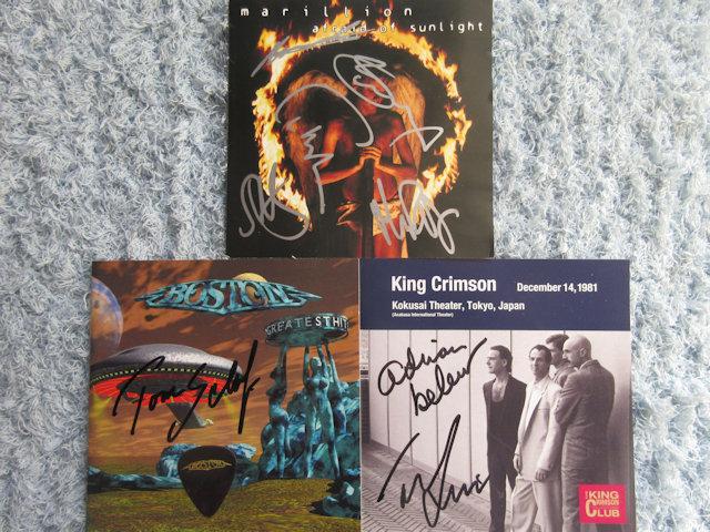◇マリリオン+ボストン(トム)+キングクリムゾン(エイドリアン・トニー) 直筆サイン入りCD3枚!