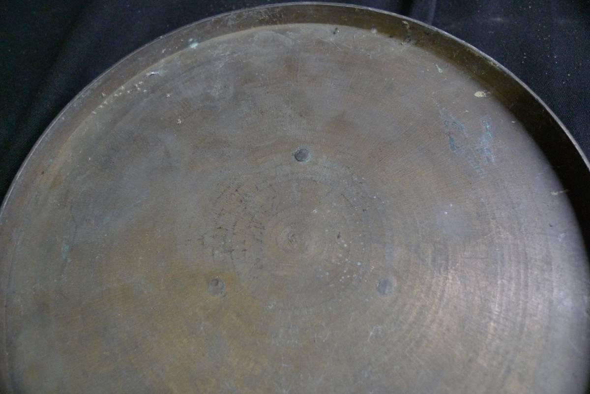【黒檀堂】旧家初出し 真鍮製梔子刻紋蜀台一対 約70cm_画像8