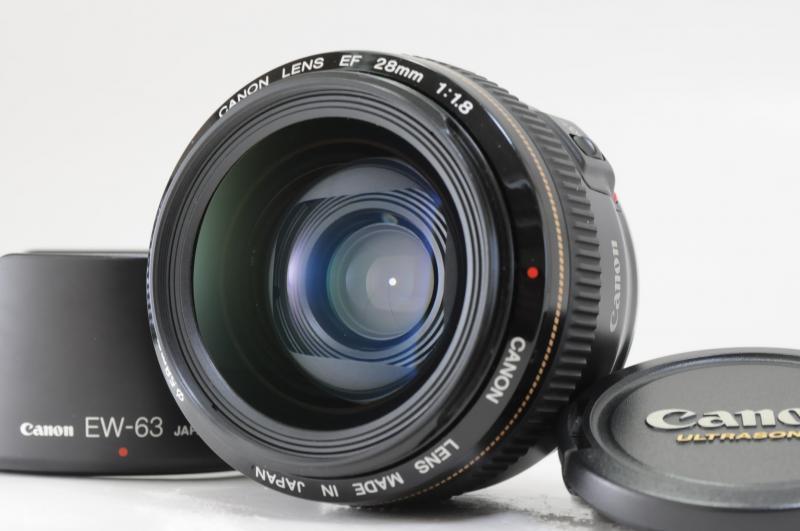 美品 キヤノン EF 28mm f1.8 USM フード付き 【送料無料】