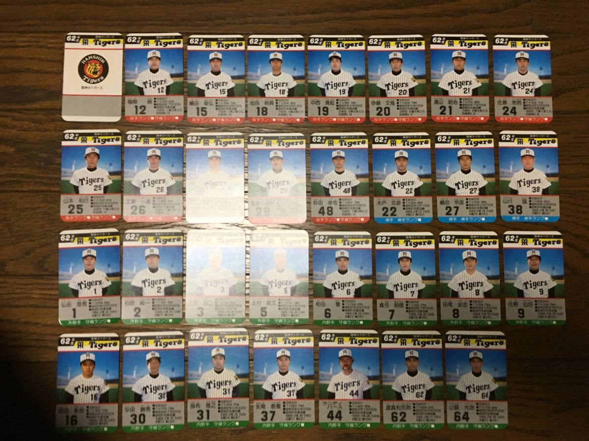 タカラ プロ野球ゲーム 62年度【阪神タイガース】31枚セット600円