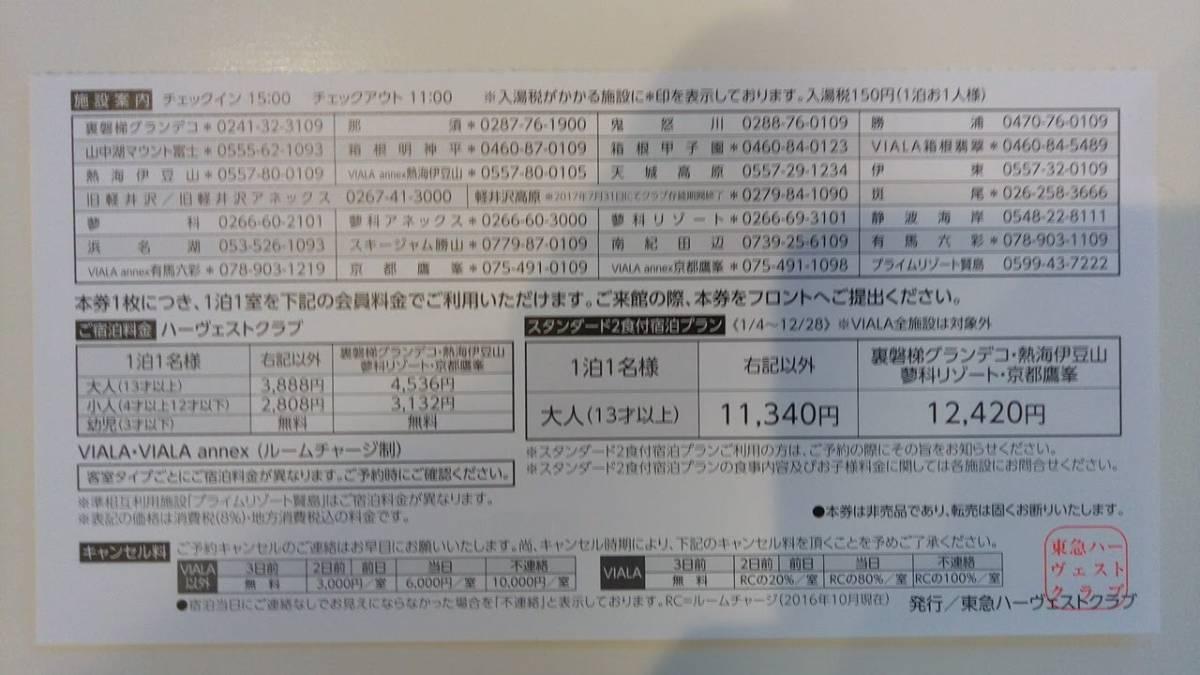 2017東急ハーヴェスト南紀田辺ホーム宿泊ご利用券_画像2