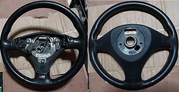4DAYS 4D系アウディS8(D2)ステアリングシフトマチック車純正3本スポーク黒皮レザーステアリング_画像1