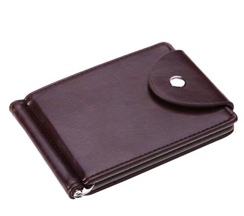 新品 マネー クリップ 財布 カード ケース 二つ折り 薄い ブラウン × ブラウン ID ホルダー PU レザー ビジネス カジュアル 送料無料_画像7