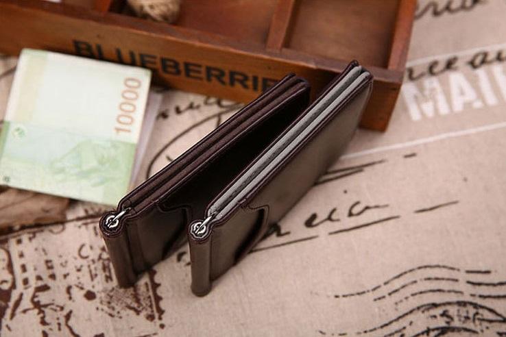 新品 マネー クリップ 財布 カード ケース 二つ折り 薄い ブラウン × ブラウン ID ホルダー PU レザー ビジネス カジュアル 送料無料_画像6