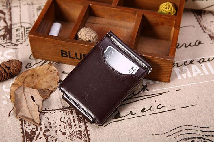 新品 マネー クリップ 財布 カード ケース 二つ折り 薄い ブラウン × ブラウン ID ホルダー PU レザー ビジネス カジュアル 送料無料_画像3