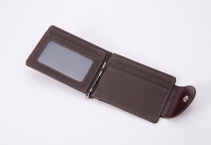新品 マネー クリップ 財布 カード ケース 二つ折り 薄い ブラウン × ブラウン ID ホルダー PU レザー ビジネス カジュアル 送料無料_画像4
