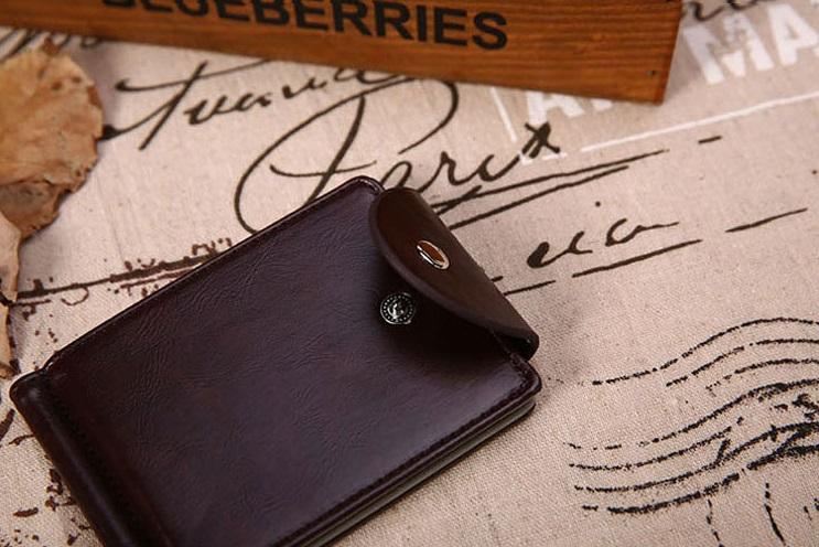 新品 マネー クリップ 財布 カード ケース 二つ折り 薄い ブラウン × ブラウン ID ホルダー PU レザー ビジネス カジュアル 送料無料_画像1