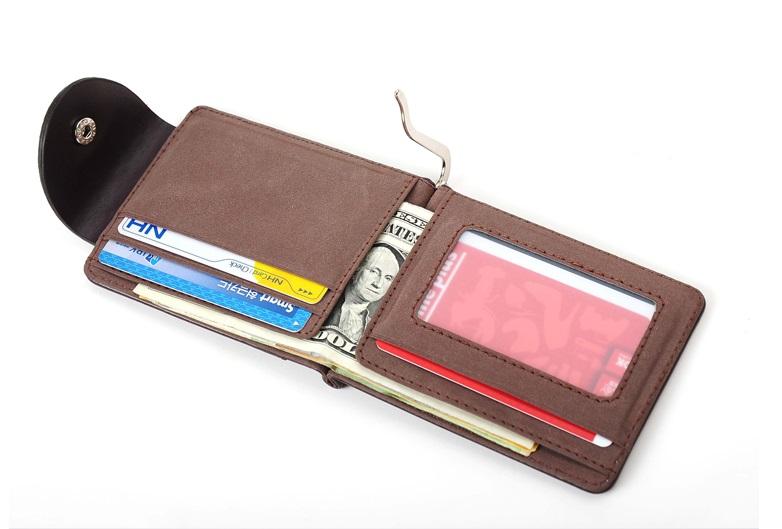 新品 マネー クリップ 財布 カード ケース 二つ折り 薄い ブラウン × ブラウン ID ホルダー PU レザー ビジネス カジュアル 送料無料_画像5