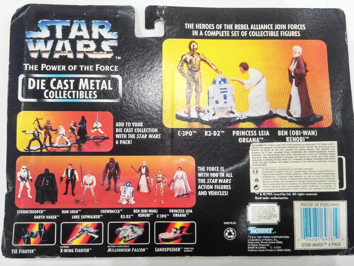 1995 Hasbro Kenner Star Wars Die Cast Metal Figures 4 Pack Leia Ben C-3PO R2D2