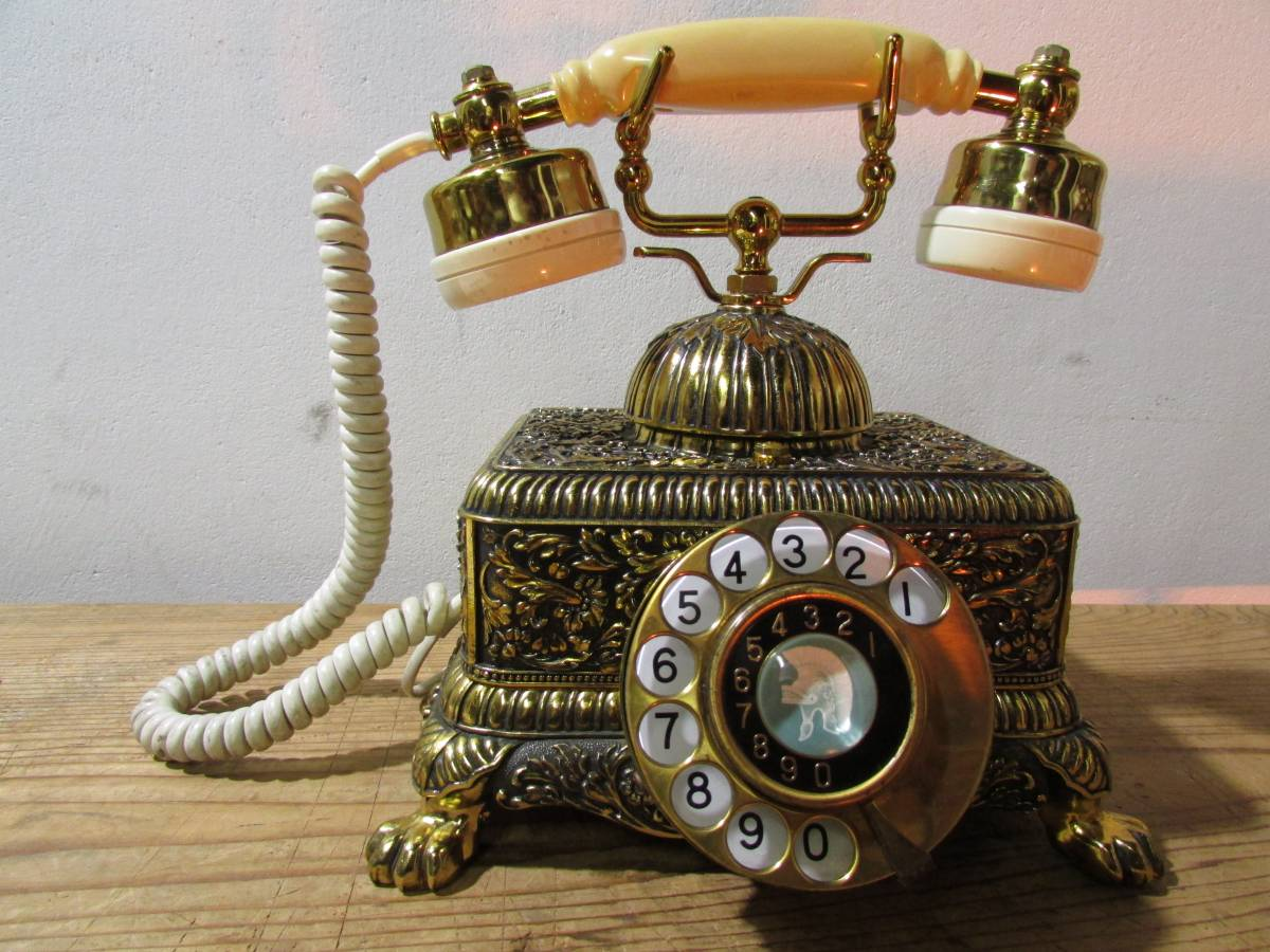 昭和レトロ《優雅で豪華 彫刻金彩花柄の電話機 シーザ NA480-A2-G ナカヨ通信機》 置物 アンテーク イタリア ロココ 猫脚 インテリア