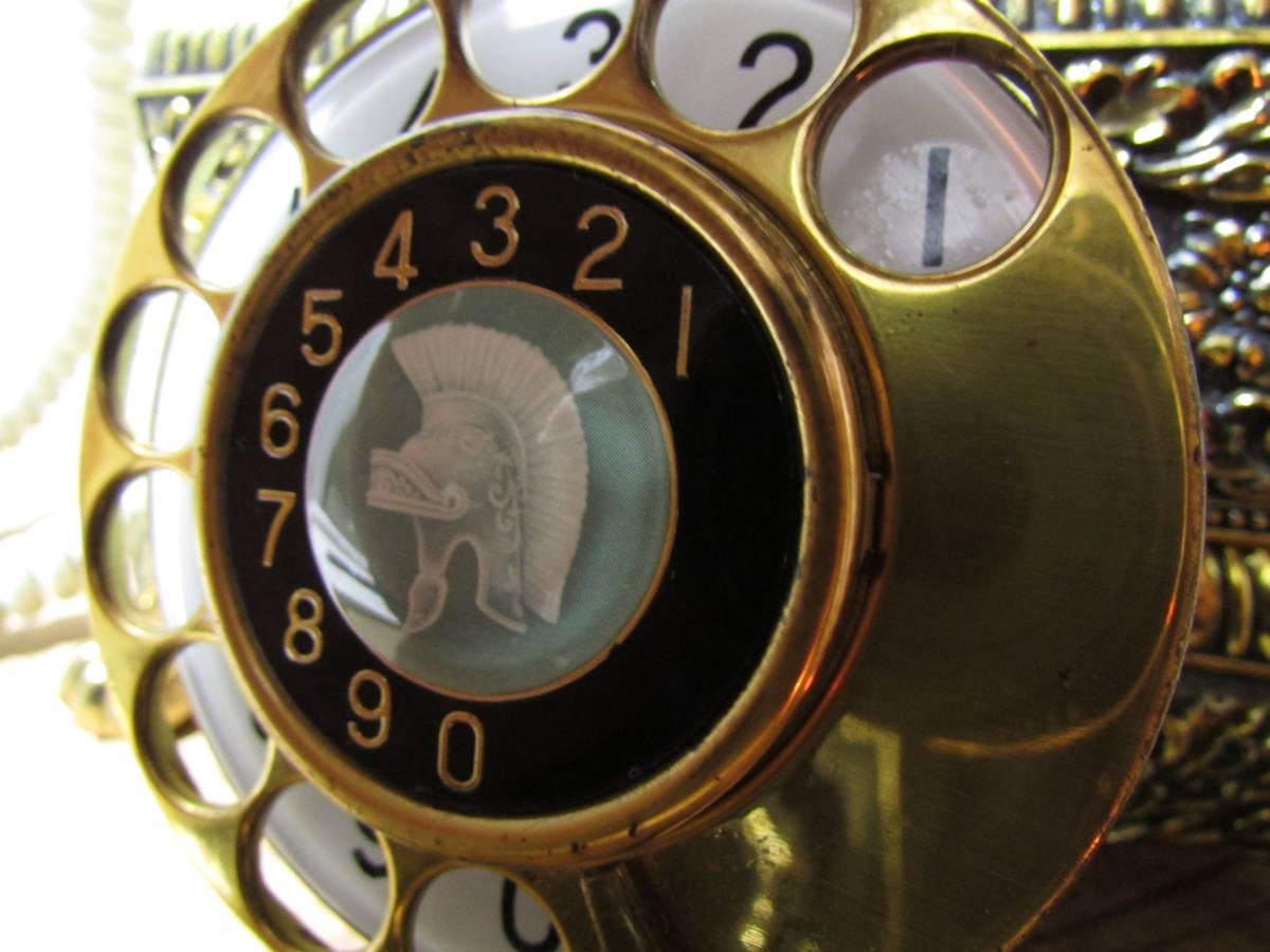 昭和レトロ《優雅で豪華 彫刻金彩花柄の電話機 シーザ NA480-A2-G ナカヨ通信機》 置物 アンテーク イタリア ロココ 猫脚 インテリア_画像3