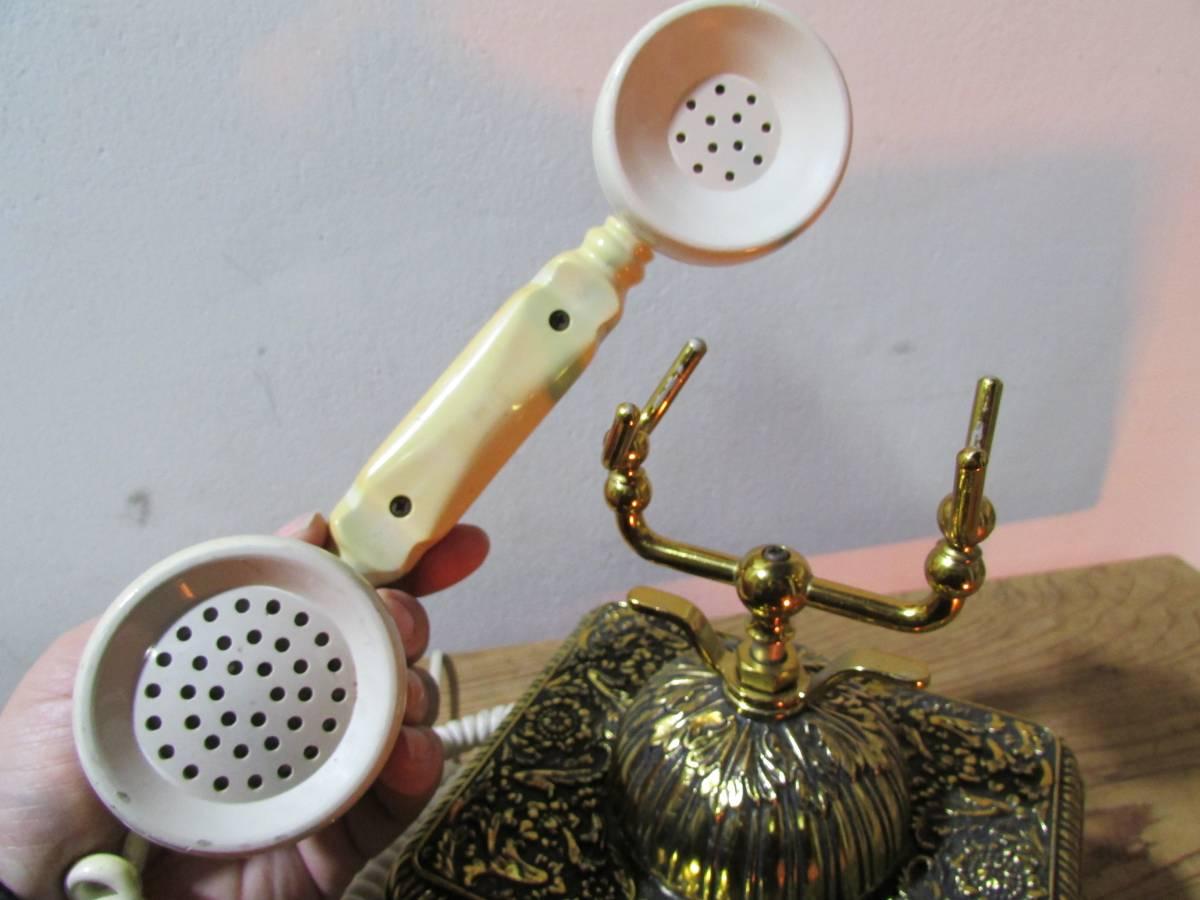昭和レトロ《優雅で豪華 彫刻金彩花柄の電話機 シーザ NA480-A2-G ナカヨ通信機》 置物 アンテーク イタリア ロココ 猫脚 インテリア_画像10