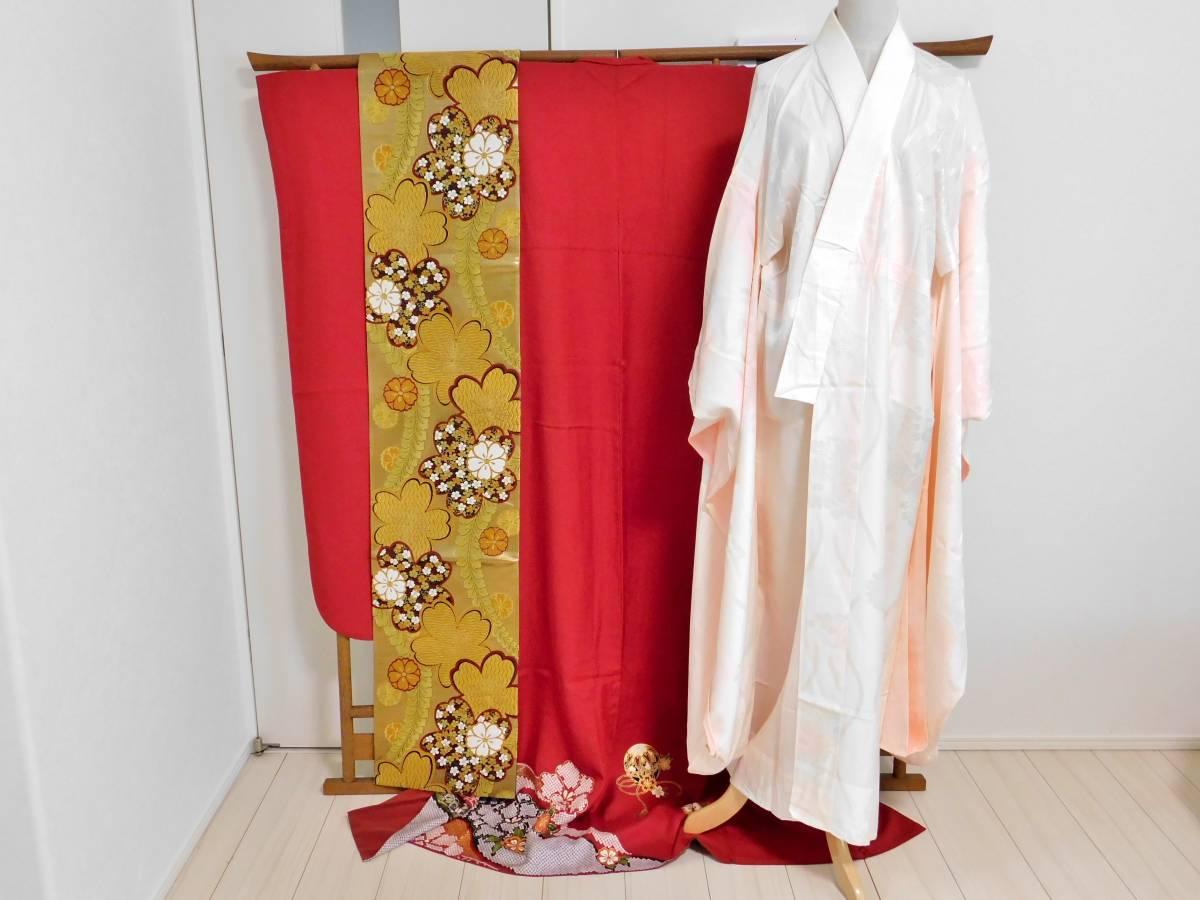 着物 京都きもの友禅 振袖 長襦袢 袋帯 3点セット 赤色 花柄 長期保管品 送料無料 中古 和装 和服
