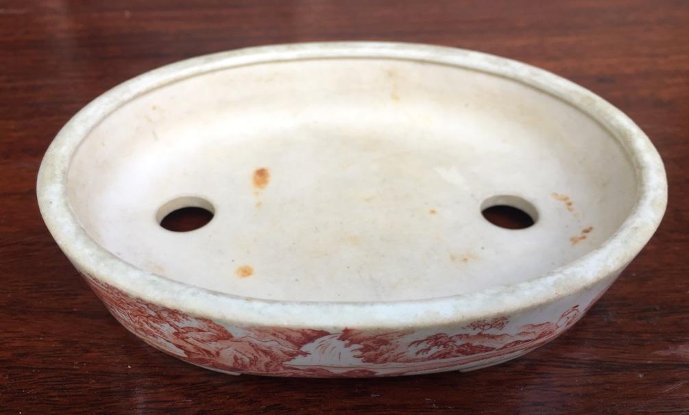 絵鉢の巨匠【宮崎一石】赤絵山水図・巾9.6cm
