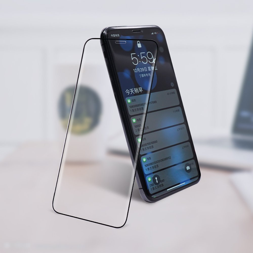 iPhoneXガラスフィルム 2018年最新強化ガラス iPhoneX用液晶保護フィルム 4DTouch対応/5Dラウンドエッジ加工全面保護/最高硬度9H/極薄0.2mm