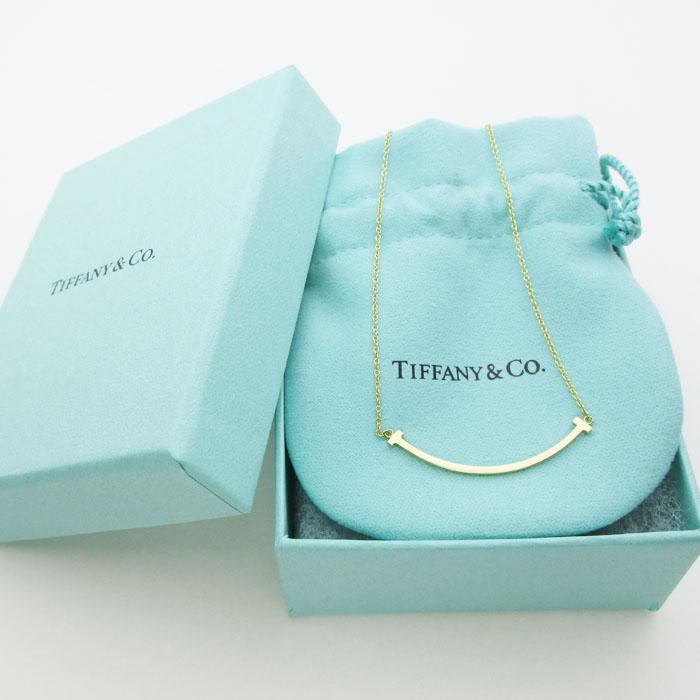 TIFFANY & CO. ティファニー Tスマイルネックレス ミニ 35189459 K18YG 3.4g 40~45cm 美品_写真1