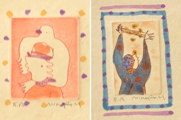 横田稔(造)「小さなアルバム」1979年 限定30部 EA番(作家用)直筆サイン 着彩銅版画16葉(表紙含)総布装 表紙刺繍 草原社 書画、絵画 a0325_画像3