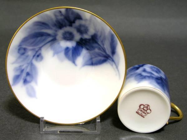 ◎オールド大倉陶園 1929年銘 手描き染付 ブルーローズ碗皿◎a_画像2