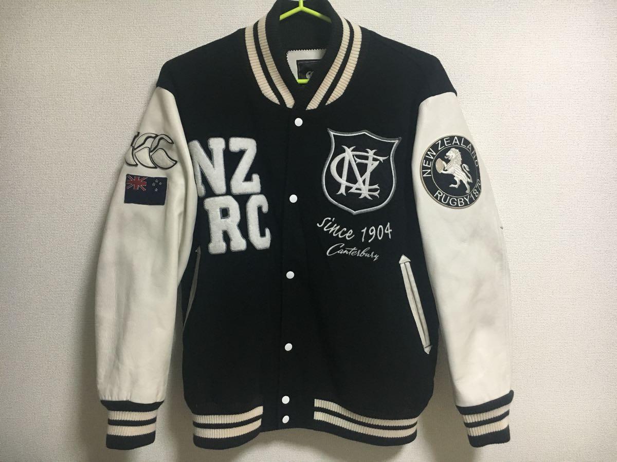 カンタベリー CANTERBURY 袖革スタジャン セミデコ 刺繍 3L 黒白