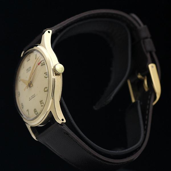 1円 アンティーク SMITHSスミス EVERESTエベレスト 19石 メンズ 手巻き 腕時計 9金無垢 英国製_画像3