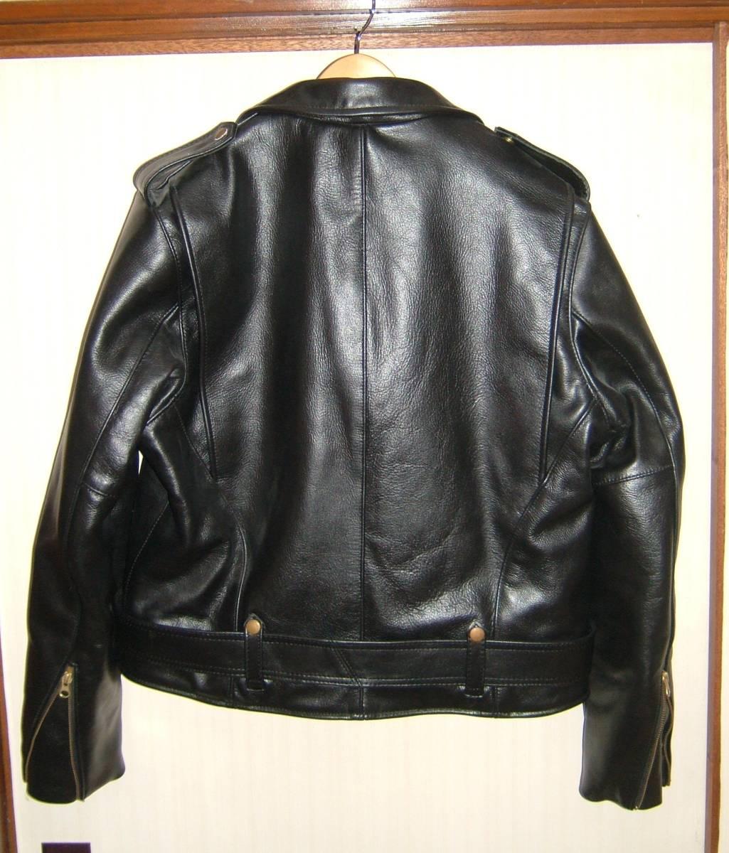 中古 Vanson バンソン C2 ダブルライダース レザージャケット 44 カウハイド ブラック 黒 牛革 革ジャン ジャンパー MADE IN USA 米国製_画像3