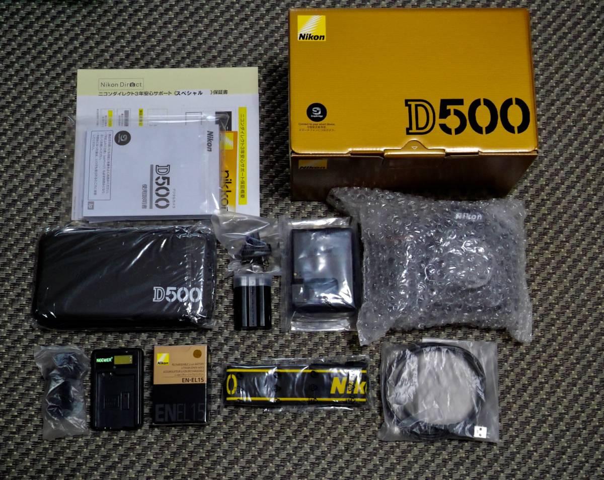 激安100円! NIKON ニコン D500 ボディ DX(APS-C) 最強モデル 保証付き  予備バッテリー、充電器付き