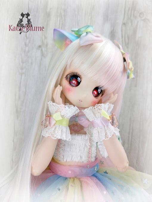 【KatzeBlume】DOLLCE製 DollceDoll Aヘッドカスタム+洋服+にゃんこセット_画像8