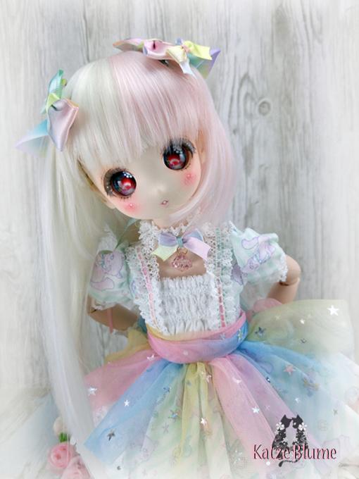 【KatzeBlume】DOLLCE製 DollceDoll Aヘッドカスタム+洋服+にゃんこセット_画像7